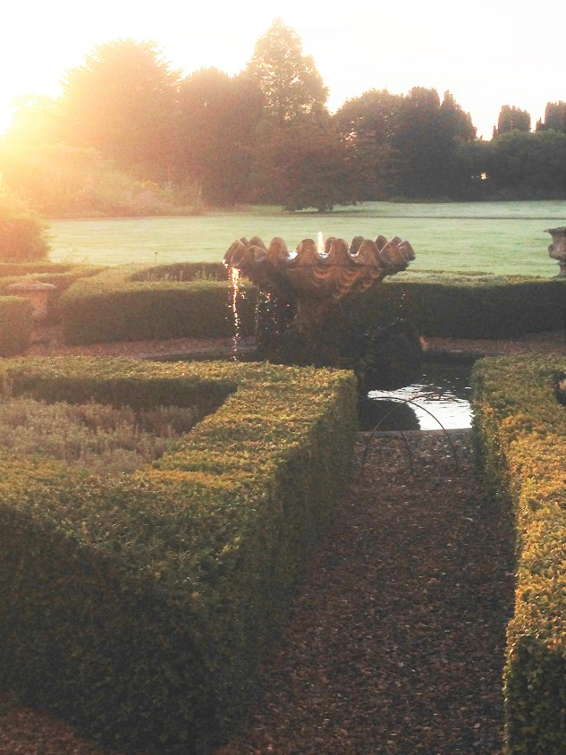 The shell fountain in the parterre at Lamport Hall