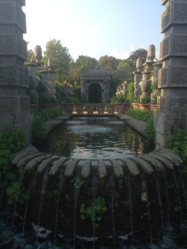 formal fountain jets and canal pool in Collector Earl's Garden, Arundel Castle