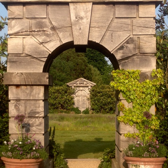 Green oak arches overlooking Collector Earl's Garden, Arundel Castle