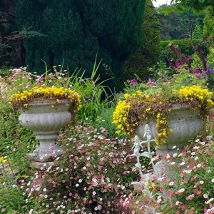 aged stone urns