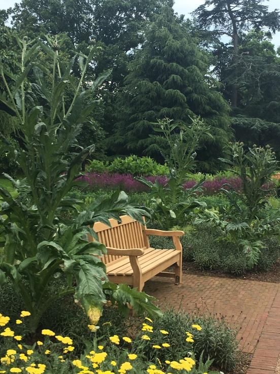 Wooden bench at Kew Gardens