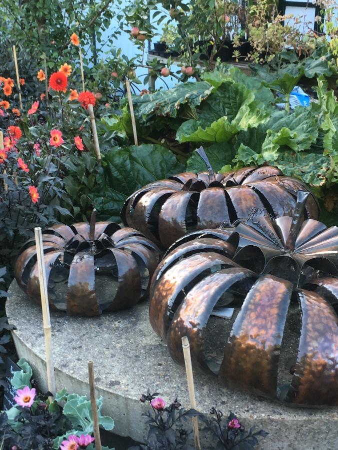 copper pumpkin sculptures